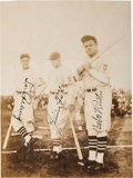 Autographs:Post Cards, 1934 Babe Ruth, Lou Gehrig & Jimmie Foxx Signed Tour of Japan Photograph....