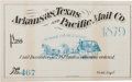 Miscellaneous:Ephemera, Arkansas, Texas and Pacific Mail Co. Stage Pass, 1879....