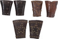Western Expansion:Cowboy, Tooled and Studded Leather Cowhand's Cuffs: Three Matched Pairs.... (Total: 3 )