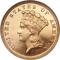 Three Dollar Gold Pieces, 1882 $3 MS66 ★ Prooflike NGC. CAC....