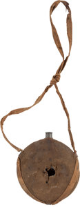 Militaria:Uniforms, U.S. M1859 Smooth Side Canteen with Original Brown Wool Cover and Linen Sling, Struck by a Projectile and Recovered from Antie...