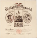 "Entertainment Collectibles:Circus, William F. ""Buffalo Bill"" Cody: Memorial Certificate and Envelope.... (Total: 2 Items)"