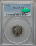 Three Cent Nickels, 1885 3CN XF40 PCGS. CAC....