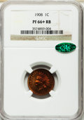Proof Indian Cents, 1908 1C PR66+ Red and Brown NGC. CAC....