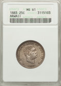 Coins of Hawaii: , 1883 25C Hawaii Quarter MS61 ANACS. NGC Census: (56/837). PCGSPopulation (50/1107). Mintage: 500,000. ...