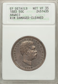Coins of Hawaii: , 1883 50C Hawaii Half Dollar -- Cleaned, Rim Damaged -- ANACS. XFDetails Net VF35. NGC Census: (32/425). PCGS Population (3...