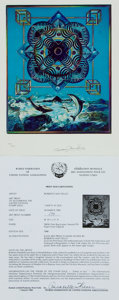 """Books:Prints & Leaves, Roberto Mattiello SIGNED/LIMITED Lithograph to Accompany the UnitedNations Stamp Issue """"Safety at Sea."""" 1983. Number 294/1,..."""