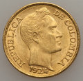 Colombia, Colombia: Republic gold 5 Pesos 1924-B UNC Some Surface Marks,...