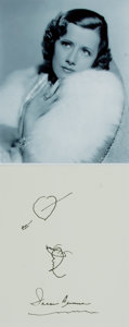 "Autographs:Celebrities, Irene Dunne (1898-1990). Original Drawing SIGNED. Measures 8"" x10"". Art paper. Includes a B&W glossy photo of Dunne. Fine. ..."