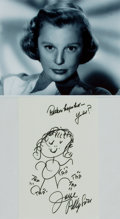 """Autographs:Celebrities, June Allyson (1917-2006). Original Drawing SIGNED. Measures 6.5"""" x10"""". Art paper. Includes a B&W glossy photo of Allyson. F..."""