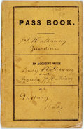 Books:Americana & American History, [Americana]. Manuscript Pass Book. 1861. Thin sixteenmo. Yellowprinted wrappers. Very good. From the collection of ZitaB...