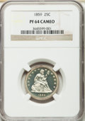 Proof Seated Quarters, 1859 25C PR64 Cameo NGC....