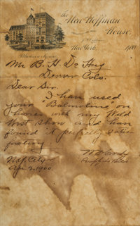 """William F. """"Buffalo Bill"""" Cody: A Longhand 1900 Letter Endorsing a Horse Liniment Product"""