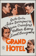 "Movie Posters:Academy Award Winners, Grand Hotel (MGM, R-1962). One Sheet (27"" X 41"") & Lobby Card Set of 8 (11"" X 14""). Academy Award Winners.. ... (Total: 9 Items)"