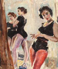 FRIED PAL (Hungarian/American, 1893-1976) Backstage Oil on canvasboard 29-7/8 x 24-7/8 inches (75
