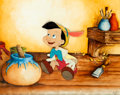 Animation Art:Production Cel, Pinocchio Production Cel with Custom Background (Walt Disney, 1940)....