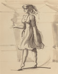 Fine Art - Work on Paper:Drawing, Attributed to REGINALD MARSH (1898-1954). Woman Walking. Inkand wash on paper. 10 x 8 inches (25.4 x 20.3 cm). Pencil n...