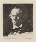 Prints, ÉDOUARD MANET (French, 1832-1883). Portrait of Chas Baudelaire, Full Face, 1865. Etching. 6-7/8 x 6-1/4 inches (17.5 x 1...