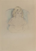 Prints, MARY STEVENSON CASSATT (American, 1844-1926). Sara Smiling, circa 1904. Hand-colored etching with drypoint. Posthumous e...
