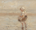 Fine Art - Painting, American:Antique  (Pre 1900), ROBERT GEMMELL HUTCHISON (British, 1855-1936). Day at theBeach. Oil on panel. 6 x 7 inches (15.2 x 17.8 cm). Signedlow...