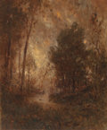 Paintings, ALEXANDER HELWIG WYANT (American, 1836-1892). Wooded Stream (Golden Sunset). Oil on canvas. 16-1/4 x 12-1/4 inches (41.3...
