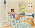, BEN SCHONZEIT (American, b. 1942). Miriam on the Phone to the Office, 1985. Watercolor and pencil on paper. 8-1/2 x 11 i...