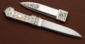 Edged Weapons:Daggers, Engraved California Style Dress Knife by Jim Ence with Mother of Pearl Handle and Scabbard....