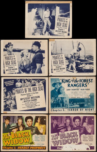 """The Black Widow & Others Lot (Republic, 1947). Title Lobby Cards (3) (11"""" X 14"""") Chapter 1 -- """"De..."""