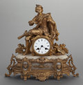 Paintings, A CONTINENTAL GILT BRONZE AND ALABASTER FIGURAL CLOCK, circa 1880. 14-1/2 x 14-3/4 x 5-1/2 inches (36.8 x 37.5 x 14.0 cm). ...