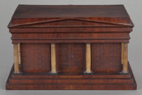 A NORTH GERMAN BIEDERMEIER MAHOGANY, KARELIAN BIRCH, EBONIZED AND PAINTED WOOD FITTED JEWELRY BOX, circa 1830 7-3/