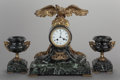 Decorative Arts, French:Other , A THREE PIECE CONTINENTAL GILT BRONZE AND MARBLE CLOCK GARNITURE,circa 1900. 17 x 14-1/2 x 6 inches (43.2 x 36.8 x 15.2 cm)...(Total: 3 Items)