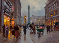 EDOUARD-LÉON CORTÈS (French, 1882-1969) Rue de la Paix, Place Vendôme, Paris Oil on canvas 13 x 1