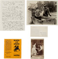 "Autographs:Celebrities, Charlie Siringo: An Important Grouping Including Letter in Which HeDiscusses Gun Fighting Styles of ""Billy the Kid"" and John ...(Total: 5 Items)"