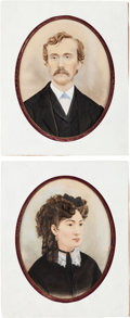 Antiques:Decorative Americana, George and Libby Custer: A Pair of Oil and Watercolor Portraits....