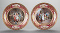 Ceramics & Porcelain, A PAIR OF VIENNESE HAUSMALER PAINTED PLATES, Vienna, Austria, circa 1900. Marks: (shield), Die Taufe; (shield), Die Ho... (Total: 2 Items)