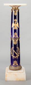 Furniture, A NAPOLEON III COBALT BLUE PORCELAIN, ALABASTER AND GILT DECORATED PEDESTAL, circa 1850. 41 x 11 x 11 inches (104.1 x 27.9 x...