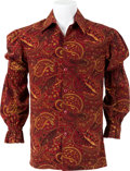 Music Memorabilia:Costumes, Elvis Presley Owned and Worn Burgundy Paisley Shirt with PuffySleeves (I.C. Costume Co., 1970s)....
