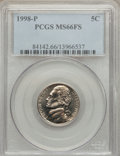 Jefferson Nickels: , 1998-P 5C MS66 Full Steps PCGS. PCGS Population (46/5). NGC Census: (0/1). Numismedia Wsl. Price for problem free NGC/PCGS...