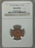 India:British India, India: British India. George V 1/12 Anna 1916-(c) MS65 Red and Brown NGC,...