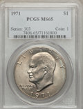 Eisenhower Dollars: , 1971 $1 MS65 PCGS. PCGS Population (766/53). NGC Census: (612/35). Mintage: 47,799,000. Numismedia Wsl. Price for problem f...