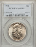 Franklin Half Dollars: , 1950 50C MS65 Full Bell Lines PCGS. PCGS Population (1064/220). NGCCensus: (307/50). Numismedia Wsl. Price for problem fr...