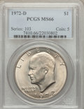 Eisenhower Dollars: , 1972-D $1 MS66 PCGS. PCGS Population (385/6). NGC Census: (307/4). Mintage: 92,548,512. Numismedia Wsl. Price for problem f...