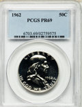 Proof Franklin Half Dollars: , 1962 50C PR69 PCGS. PCGS Population (62/0). NGC Census: (125/0).Mintage: 3,218,019. Numismedia Wsl. Price for problem free...