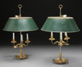 Decorative Arts, French:Lamps & Lighting, A PAIR OF FRENCH GILT BRONZE BOUILLIOTTE LAMPS WITH TOLE SHADES,early 20th century. 25 inches high (63.5 cm) (overall). ... (Total:2 Items)