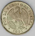 Chile: , Chile: Republic 20 Centavos 1891 - Two Types, KM138.2a, 9/8,lightly toned UNC, .500 fine silver, and KM138.3, 9/9/8, lustrousAU-U... (Total: 2 coins Item)