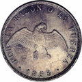 Chile: , Chile: Republic 50 Centavos 1855, KM128, AU-UNC, appealingblue-gray toning, small obverse edge nick at 8 o'clock....