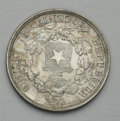 Chile: , Chile: Republic 50 Centavos 1863, KM134, lustrous AU, very boldlystruck with abundant mint luster, rare grade for the date andtyp...