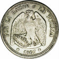 Chile: , Chile: Republic Peso 1867, KM141, AU50 NGC, light gray toning, veryrare one-year type with the smaller condor and value expressed ...