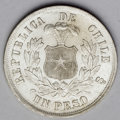 Chile: , Chile: Republic Peso - Three Dates, KM142.1, 1877, choice brilliantUNC, great eye appeal, 1878, nice AU, tiny planchet flaw near t...(Total: 3 coins Item)