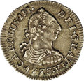 Colombia: , Colombia: Carlos III 1/2 Real 1773NR-VJ, KM45.1, AU55 NGC, animplausibly bold example with highly attractive toning andimmediate eye...